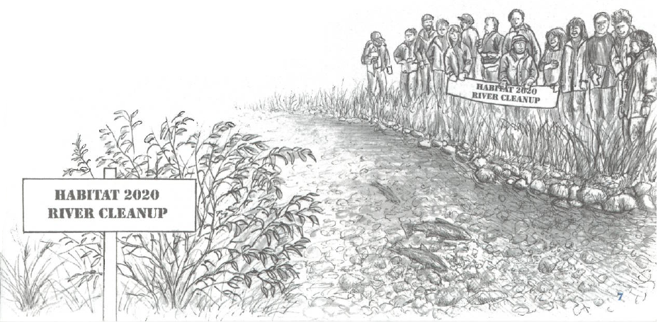 Illustration of people standing by a shoreline
