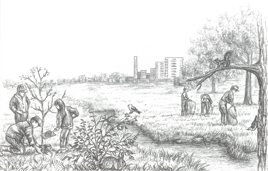 Illustration of people restoring a river bed with city in the background