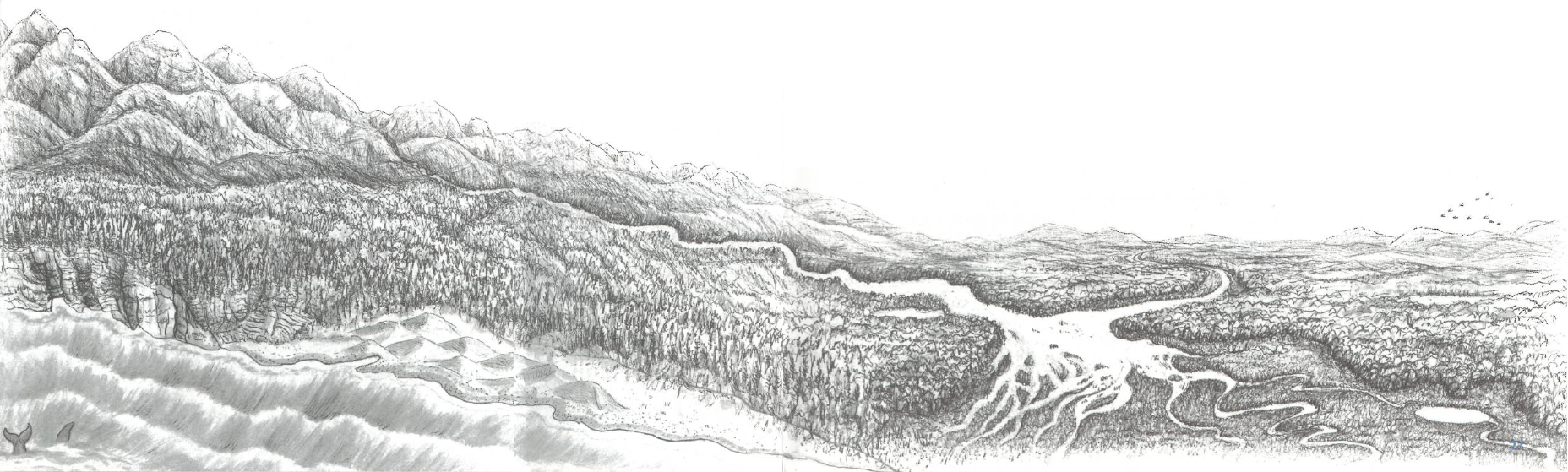 Illustration of how water runs off mountains