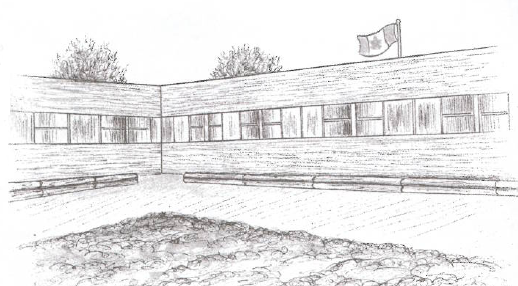 Illustration of a school starting a garden