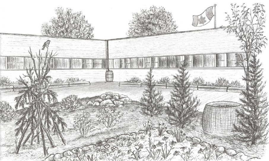 Illustration of a school with a full garden