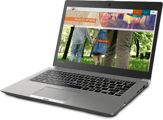 Laptop with Walk for Wildlife website on it
